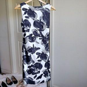 Ann Taylor White Black Gray Floral Dress